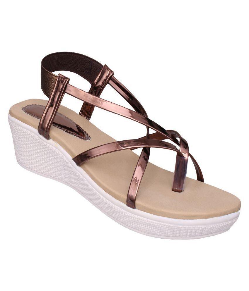 Sindhi Footwear Brown Wedges Heels