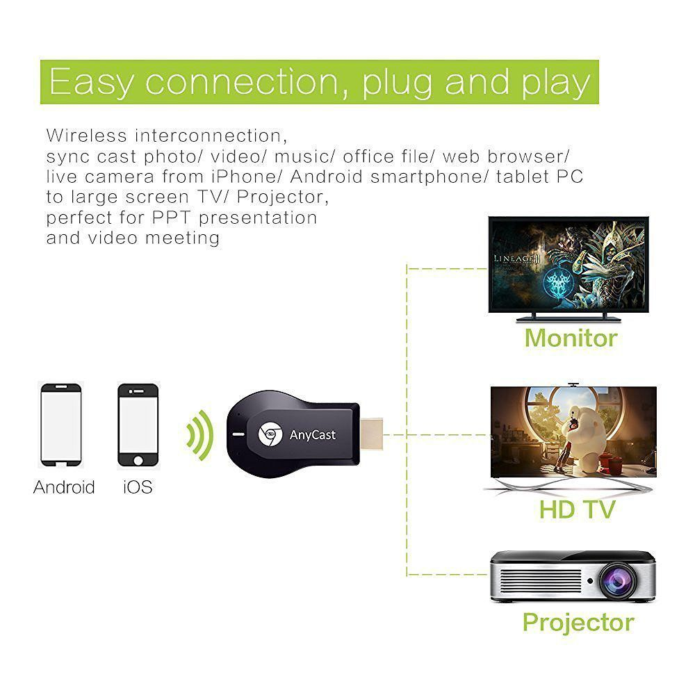 Jaiden AnyCast M2 Plus Airplay 1080P Wireless WiFi Display TV Dongle  (Mirrors Your Smartphone/Tablet/IPAD to your Big Screen TV,LED with HDMI  Port)
