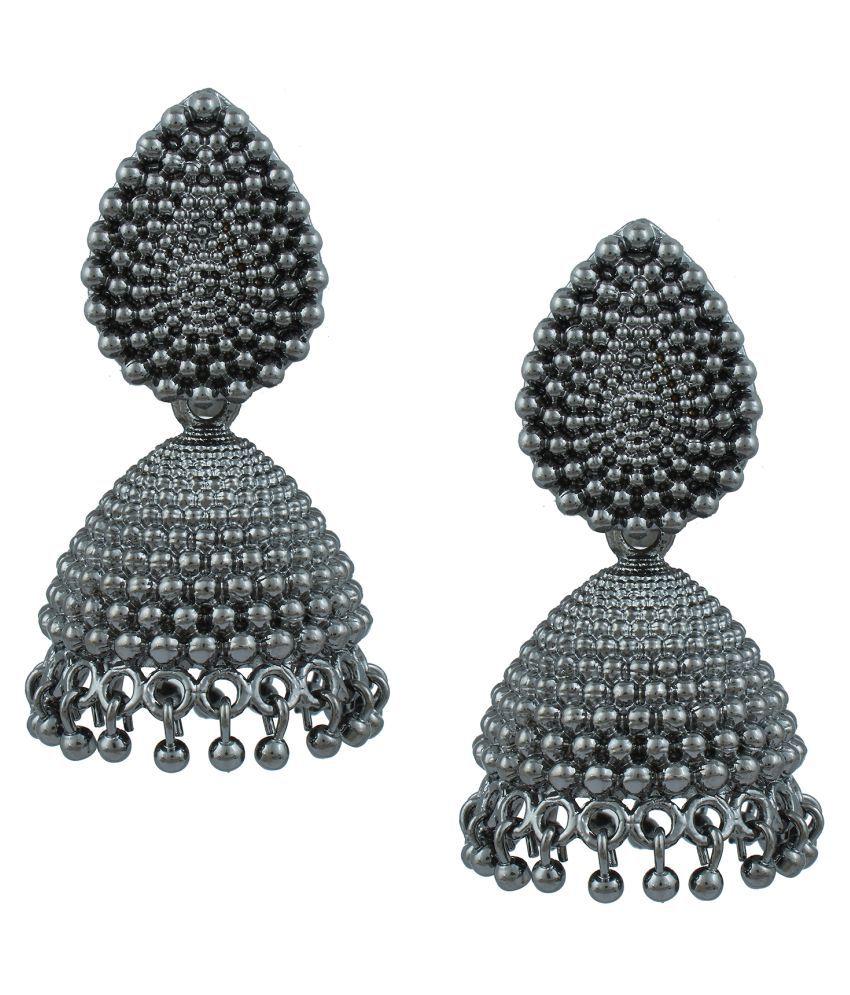 Shining Jewel Antique Silver Oxidized Jhumki Earring (SJ_1024)