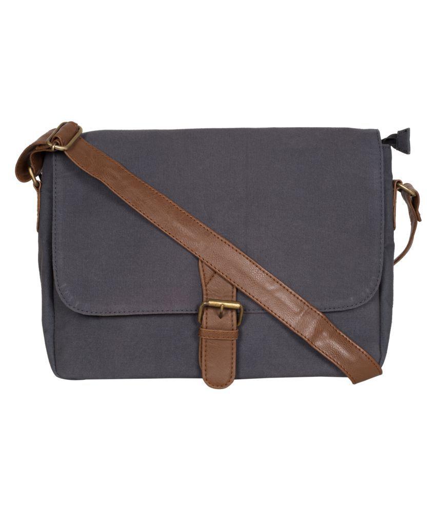 Purseus Gray Canvas Sling Bag