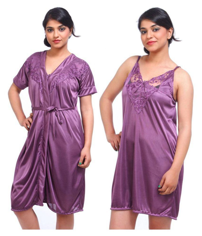 9f73ca74abc0 Buy Fasense Satin Nighty   Night Gowns - Purple Online at Best Prices in  India - Snapdeal