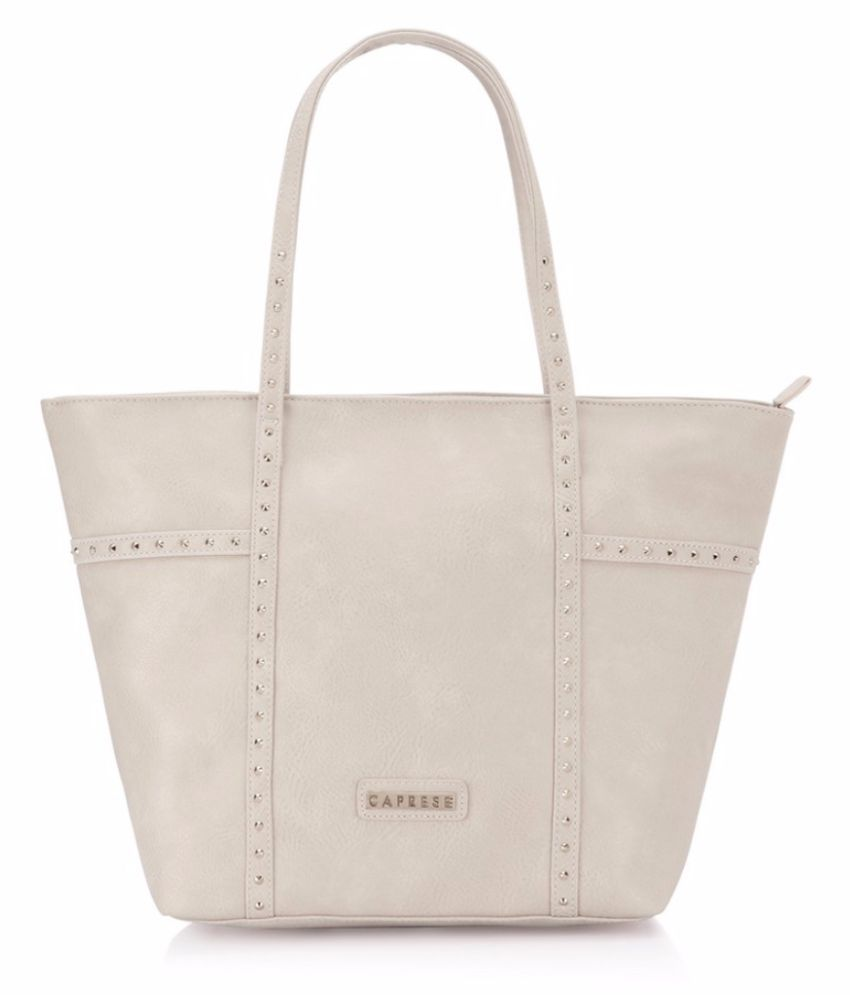 Caprese Beige Faux Leather Tote Bag