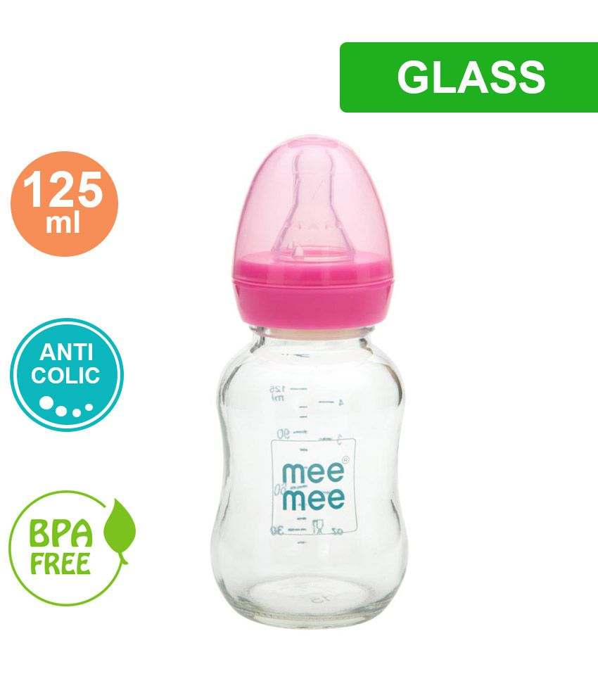 d619797e4c83a Mee Mee New born Baby Premium Glass Feeding Bottle Pink 125ml: Buy Mee Mee  New born Baby Premium Glass Feeding Bottle Pink 125ml at Best Prices in  India - ...