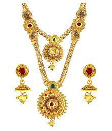 Asmitta Eye-Catchy Red & Green Kundan Gold Plated Opera Style Necklace Set For Women
