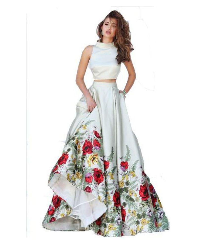 0d23ac8e0b Nena Fashion White and Grey Bangalore Silk Unstitched Semi Stitched Lehenga  - Buy Nena Fashion White and Grey Bangalore Silk Unstitched Semi Stitched  ...