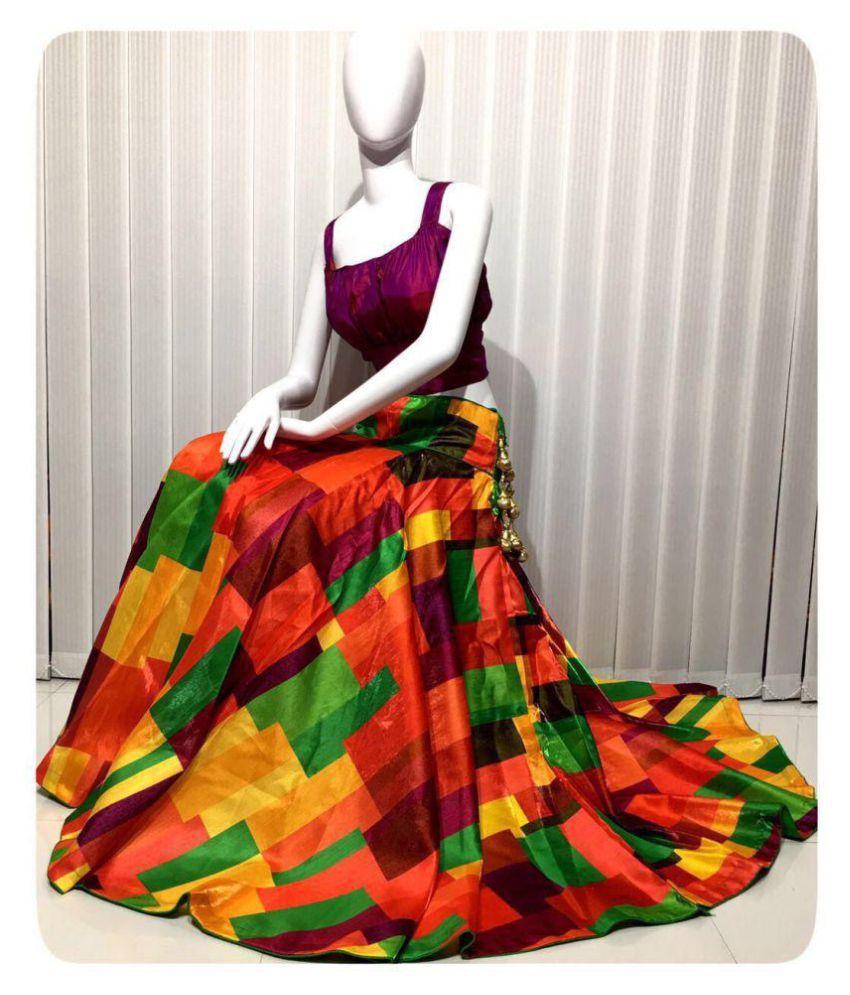 joganiya Multicoloured Bangalore Silk Unstitched Lehenga