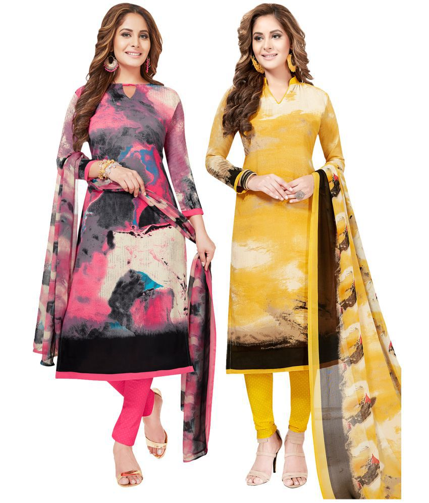 Salwar Studio Yellow and Beige Synthetic Dress Material