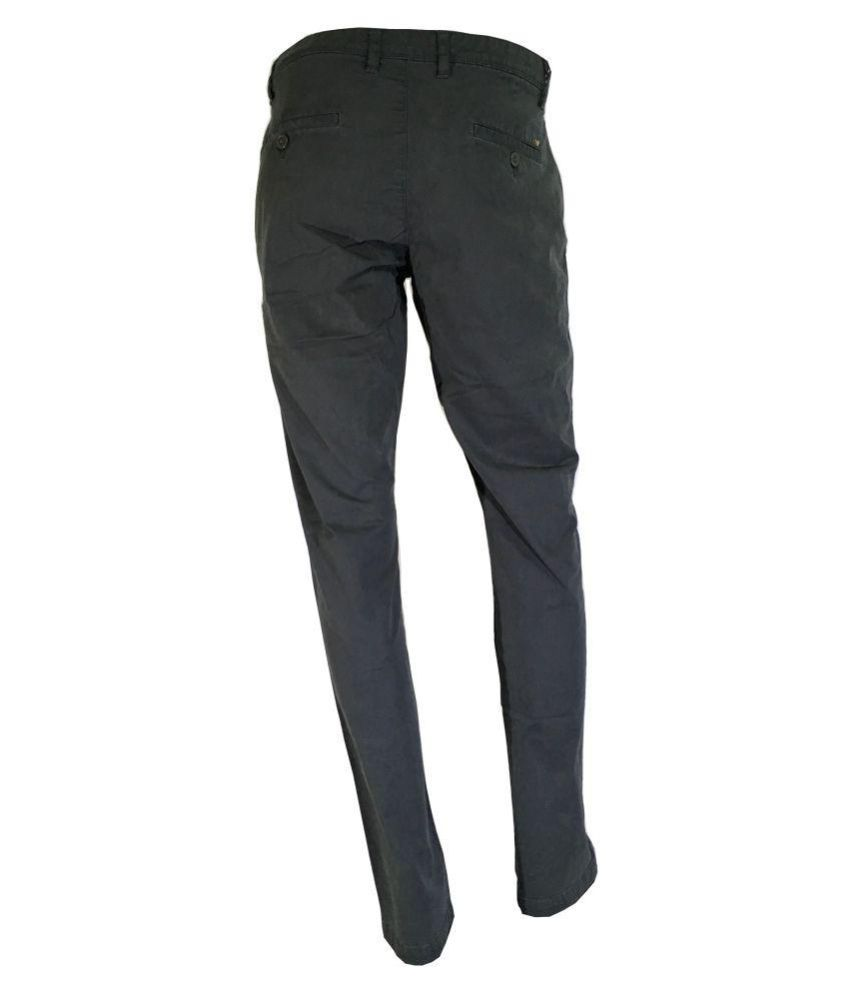 AMERICANBULL Grey Slim -Fit Flat Trousers