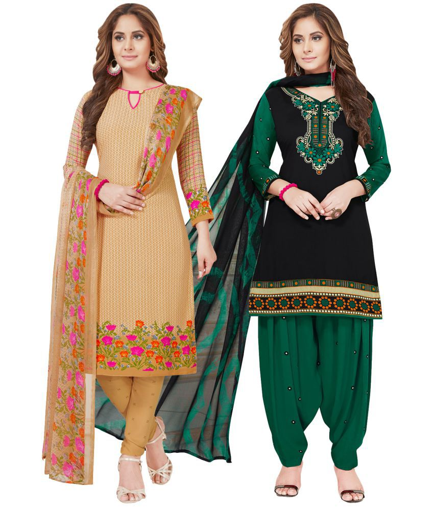 Salwar Studio Beige and Brown Synthetic Dress Material