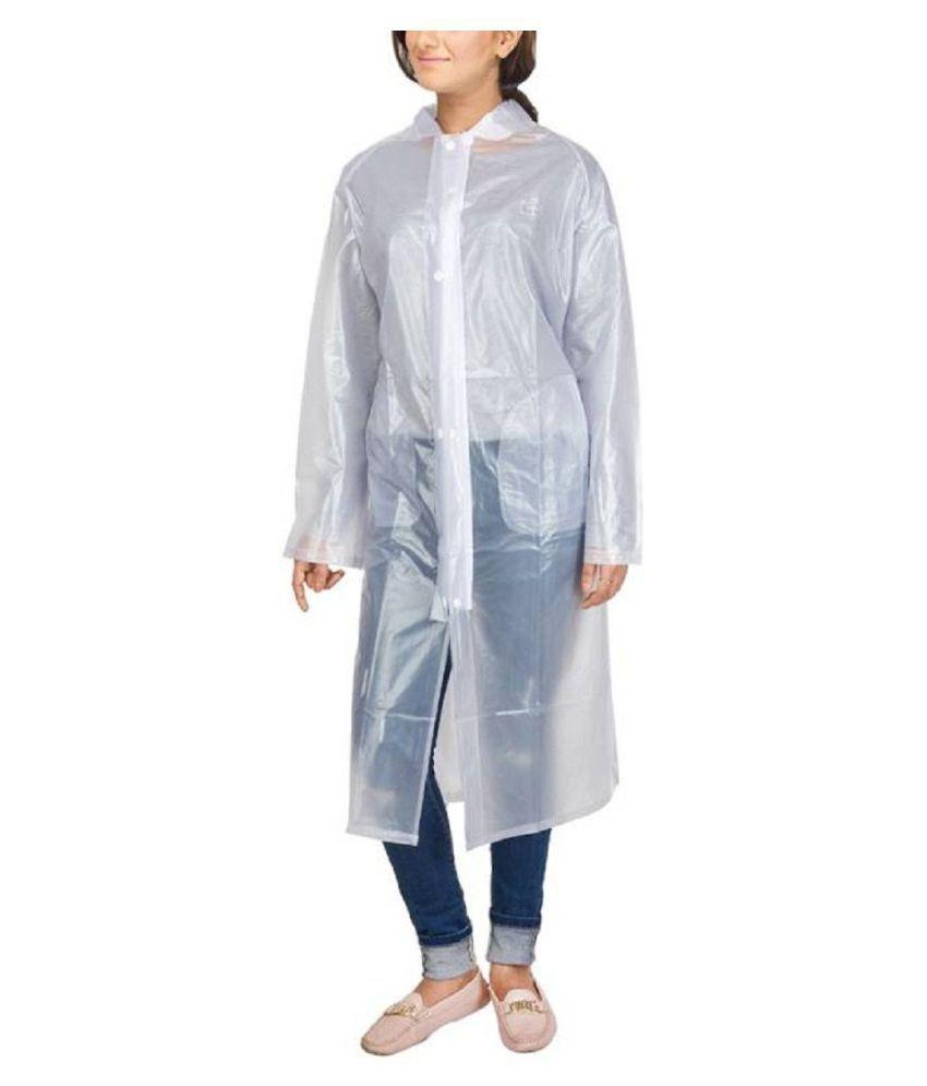 ZAINEE CLOTHING Polyester Long Raincoat - White