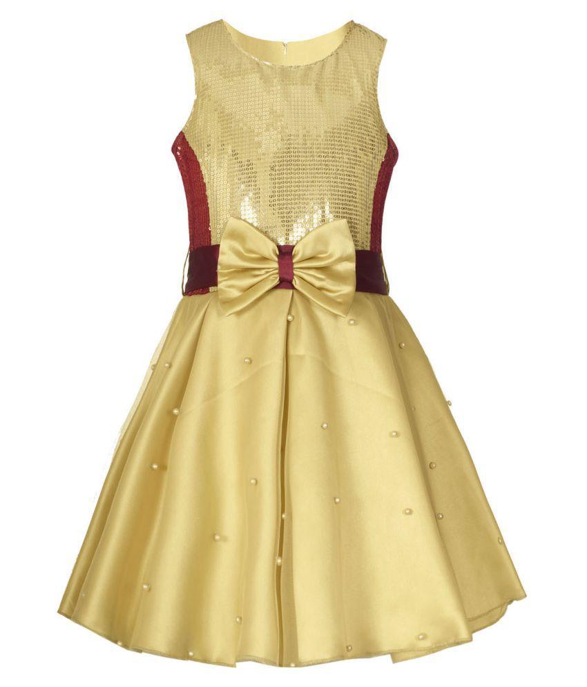 Naughty Ninos Golden Flared Party Dress