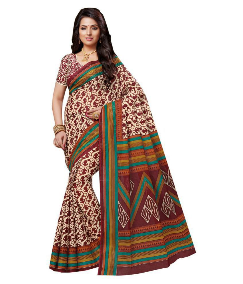 Ishin Brown and Beige Polycotton Saree