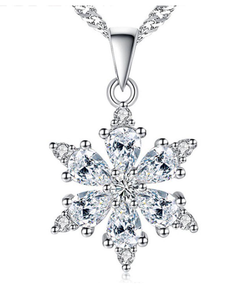 KamalifeSnowflake Pendant Silver Necklace Womens Jewellery Valentine Gift
