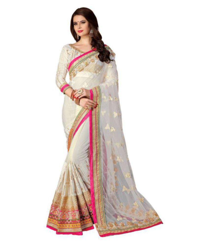 Kanha Fashion White Georgette Saree