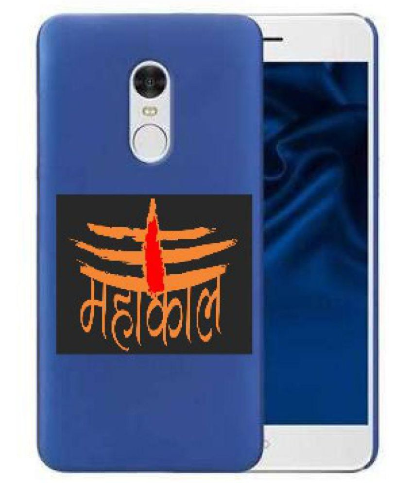 Redmi Note 4 Cover Combo by NAV TRADERS BLUE COVER WITH ONE MAHAKAL STICKER