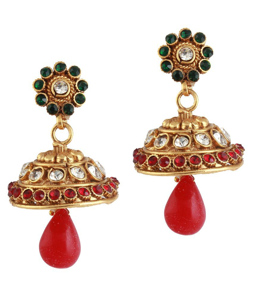 Variation Red & Green Gold Plated Jhumka Earrings For Women - VD13774