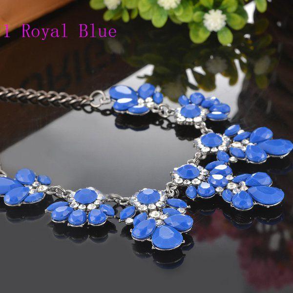 Kamalife Bohemia Fuchsia Flower Bib Choker Chunky Pendant Chain Statement Necklace Royal blue 1