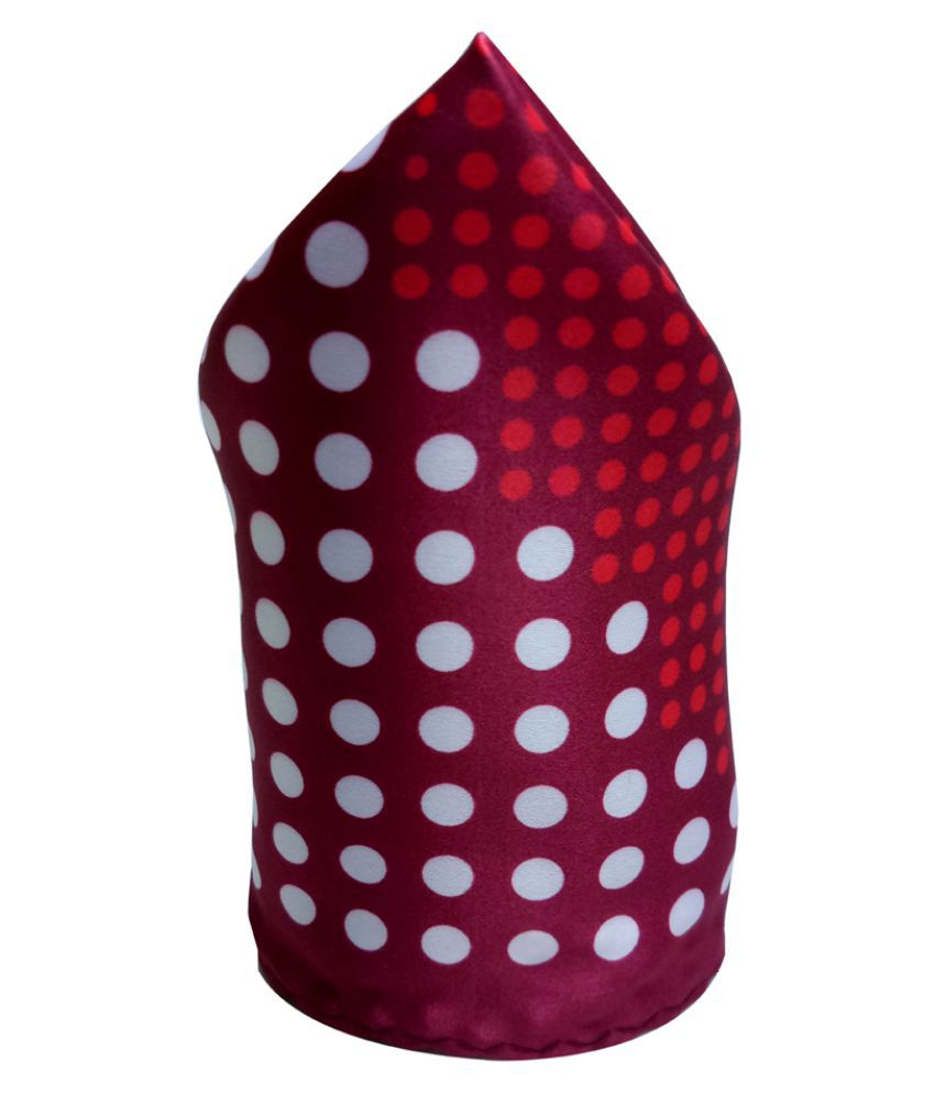 Mentiezi Silk Red Dotted Pocket Square with Maroon  Border