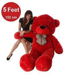 AVS 5 Feet Stuffed Spongy Huggable Cute Teddy Bear - 152 cm (Red Color)