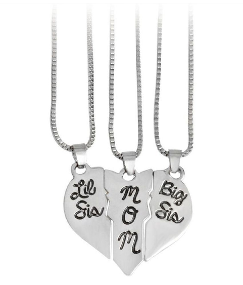 """Kamalife 3pcs/set Lettering Necklace""""Little Sis MOM Big Sis"""" Love Heart Pendant Mother Daughters Children Birthday Family Special Gift"""