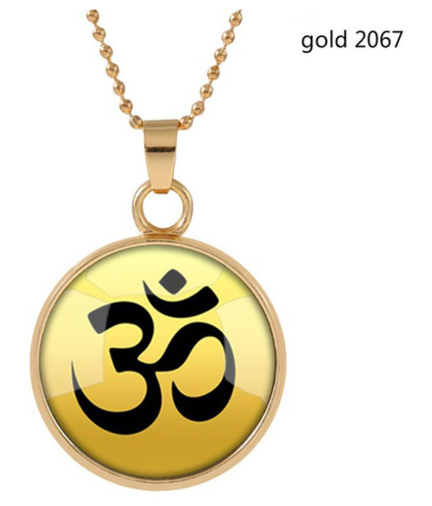 Kamalife Retro Europe and The United States Fashion Double -sided Time Glass Indian Buddhist Sanskrit Pendant Necklace Jewellery Gift Silver/ Gold