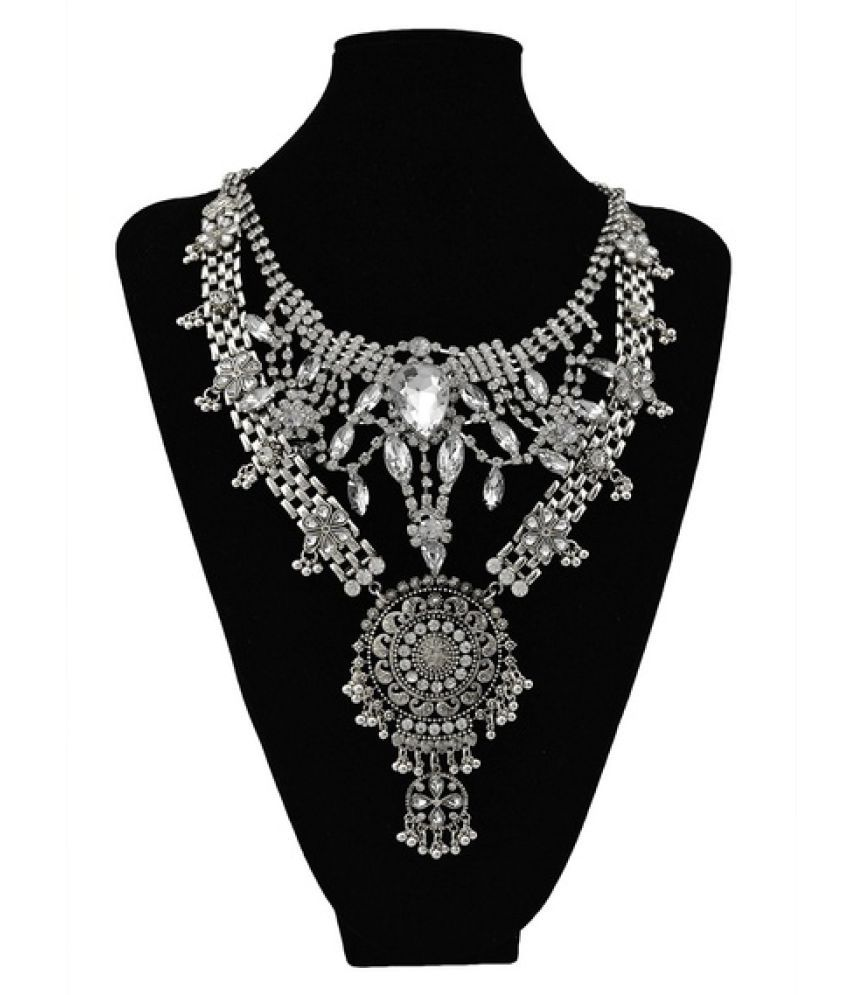 New Design Gypsy Exaggerate Rhinestone Leaves Necklace Vintage Jewelry Gold Silver Chain Big Acrylic Flower Pendant Statement Choker Necklace