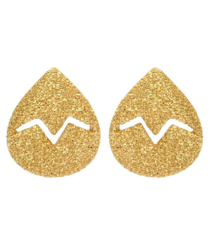 MAGS Silver Self Design Beetle Shape Stud Earring for Girls (KLE-293, Golden)