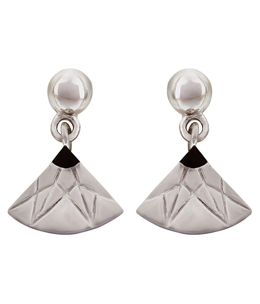 MAGS Silver Self Design Motif Shape Stud Earring for Girls (KLE-130, Silver)