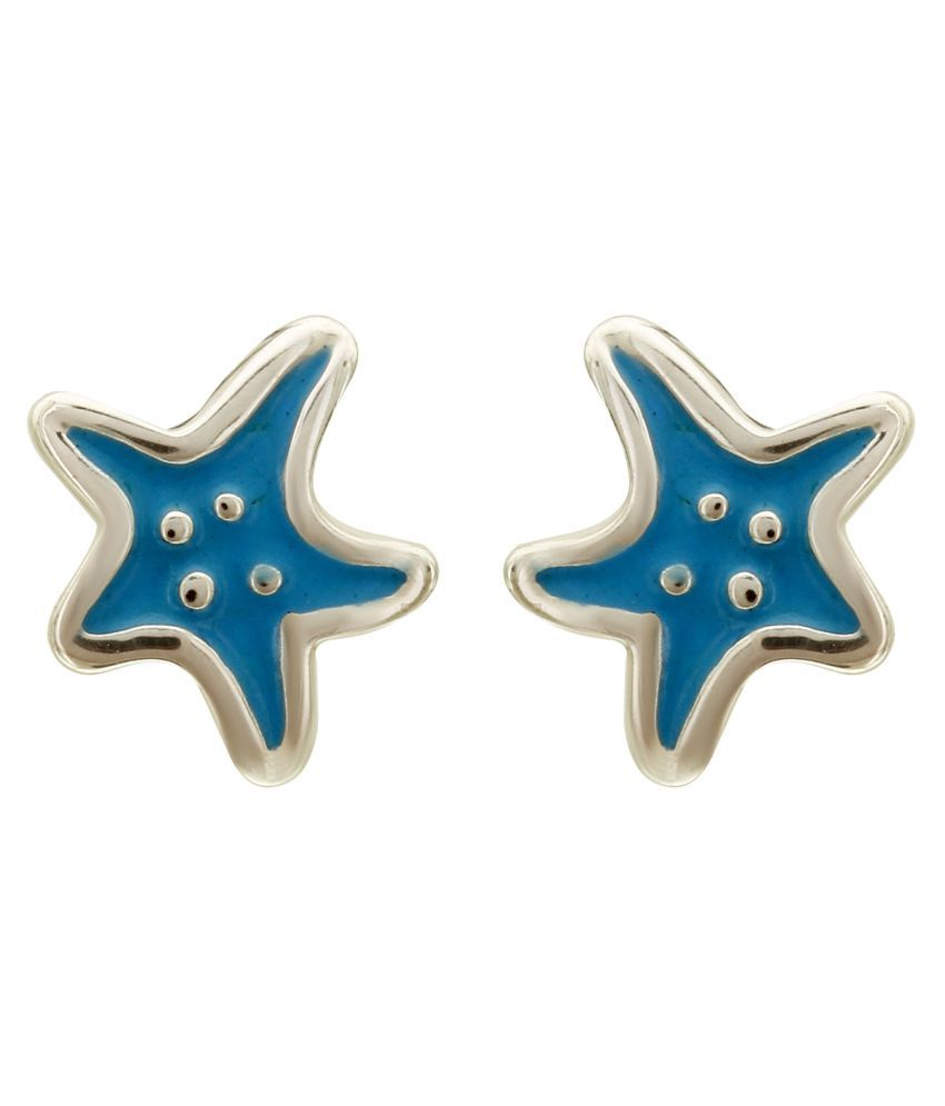 MAGS Silver Self Design Star fish Theme Stud Earring for Girls (KEE-155, Blue)