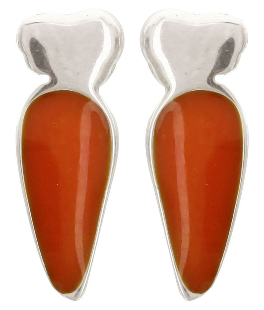 MAGS Silver Self Design Toy Carrot Theme Stud Earring for Girls (KEE-062, Orange)