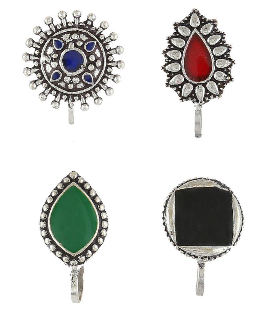 Anuradha Art Silver Finish Designer Trendy Look Nose Pin Press on Nose Ring For Women/Girls