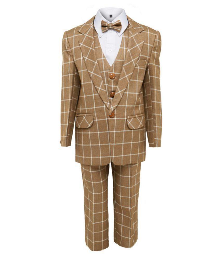 Jeet Brown Silk Boys Coat Suit Set