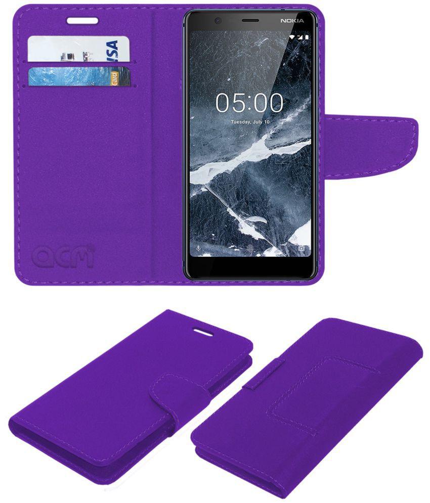 5.1 Flip Cover by ACM - Purple Wallet Case,Can store 2 Card/Cash