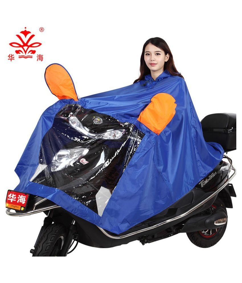 Changing Destiny Polyester Long Raincoat - Blue