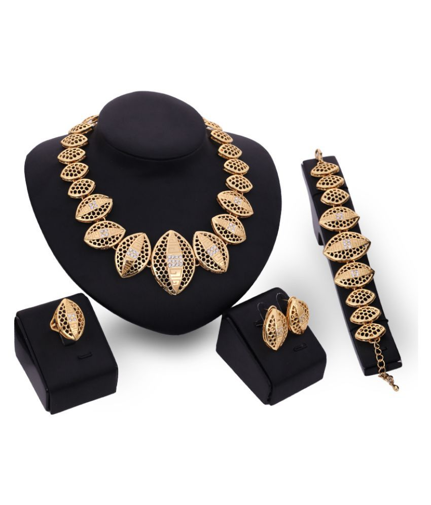 Kamalife Indian Fashion Necklace Jewelry Golden Set Earrings Ear Studs