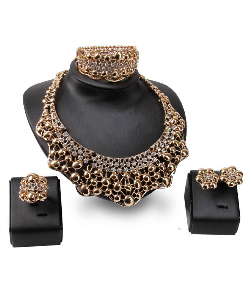 Kamalife Indian Fashion Necklace Jewelry Golden Set