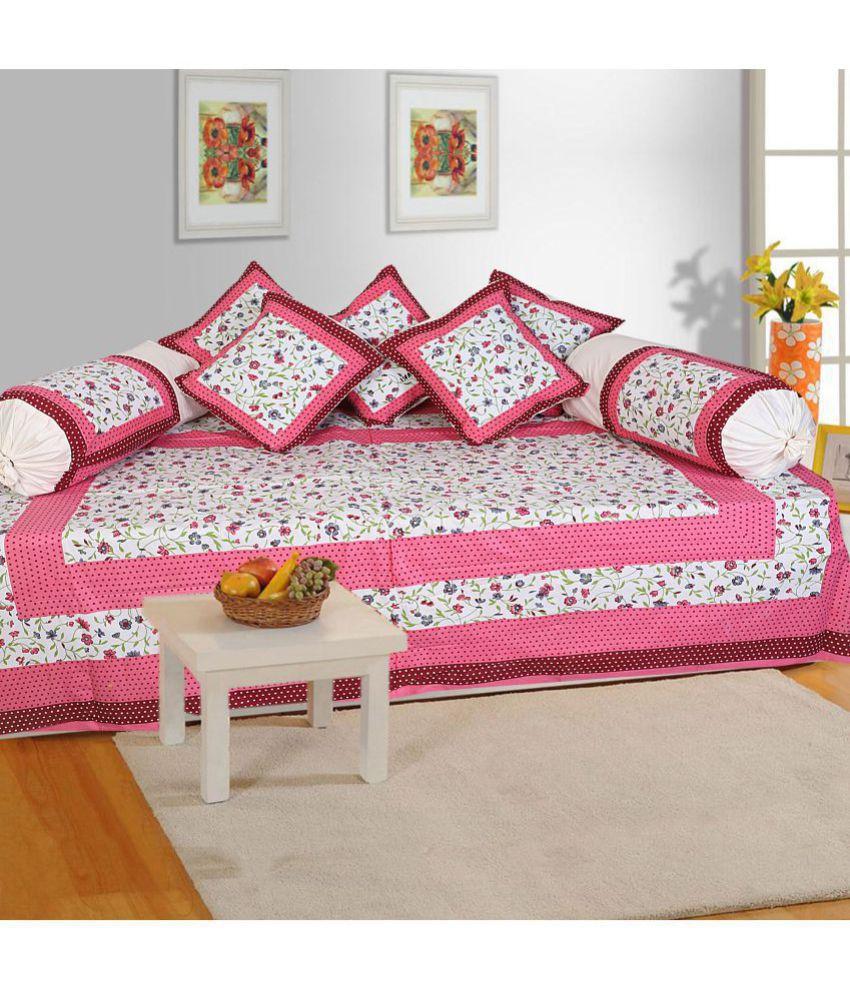 Bombay Spreads Cotton Multi Floral Diwan Set 8 Pcs