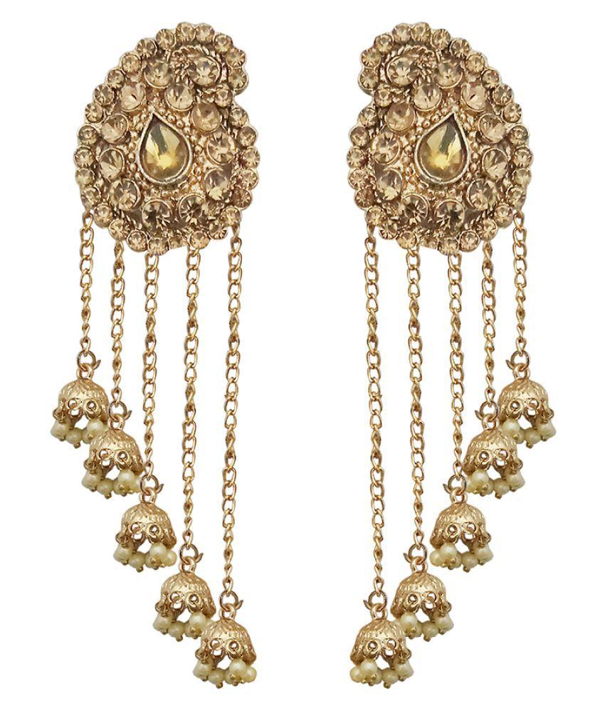 JewelMaze Gold Plated Stone Beads Dangler Earrings-1313902