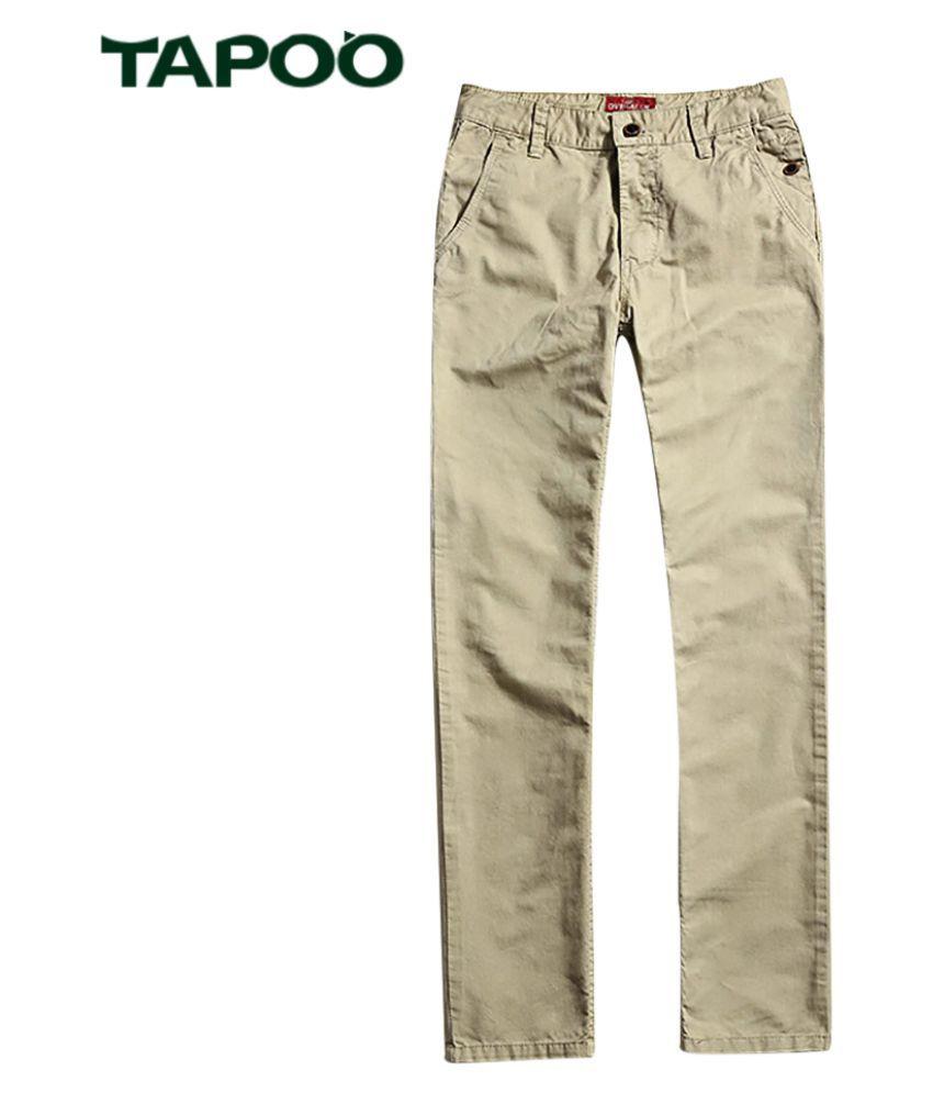 Whitleys Beige Regular -Fit Flat Trousers