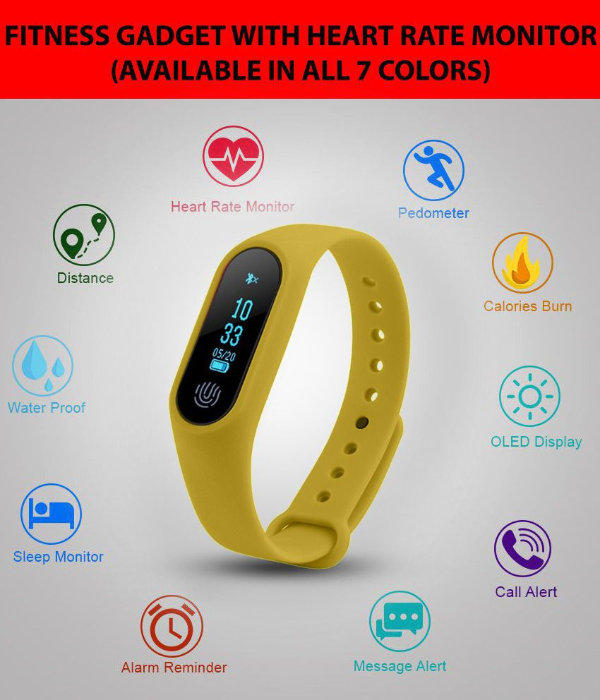IBS YELLOW M2 Smart Band Heart Rate monitor Wristband sleep Fitness Tracker  pedometer Fitness Gadget/Tracker For IOS Android