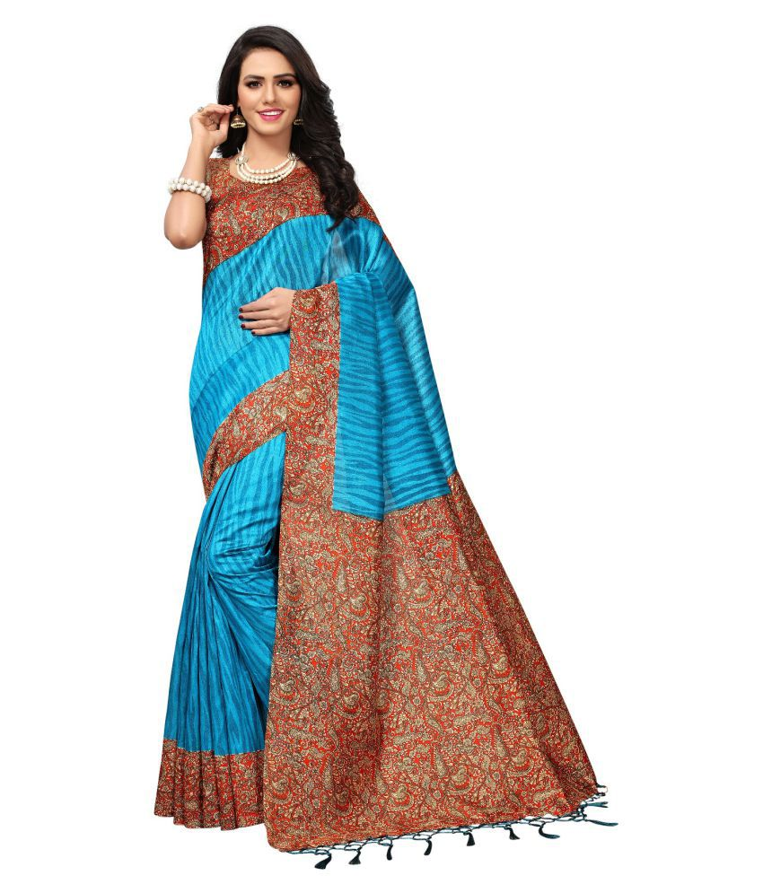Ozon Designer Fab Blue Cotton Silk Saree