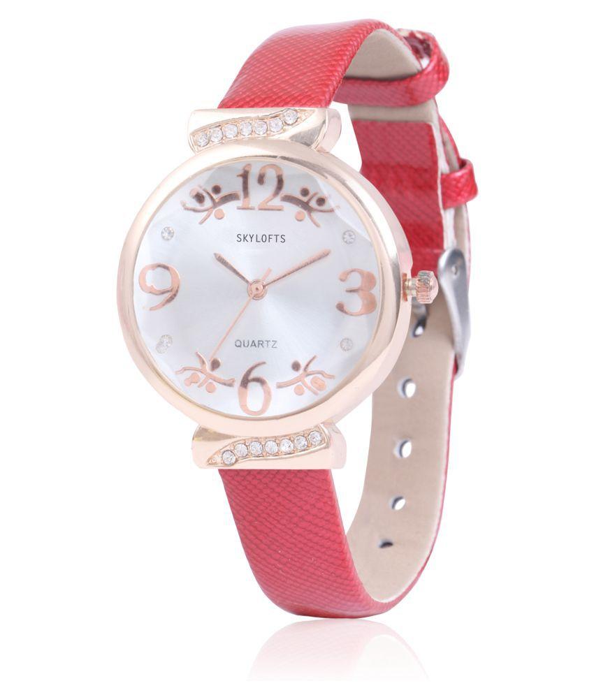 Skylofts Shiny Strap Red Strap Watches For Girls Women Birthday