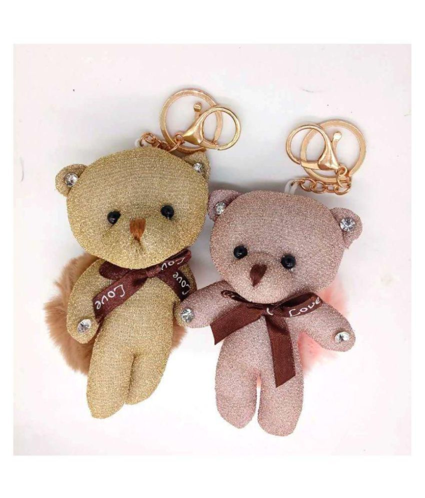 Brown, Beige Bear With Diamond Key Ring