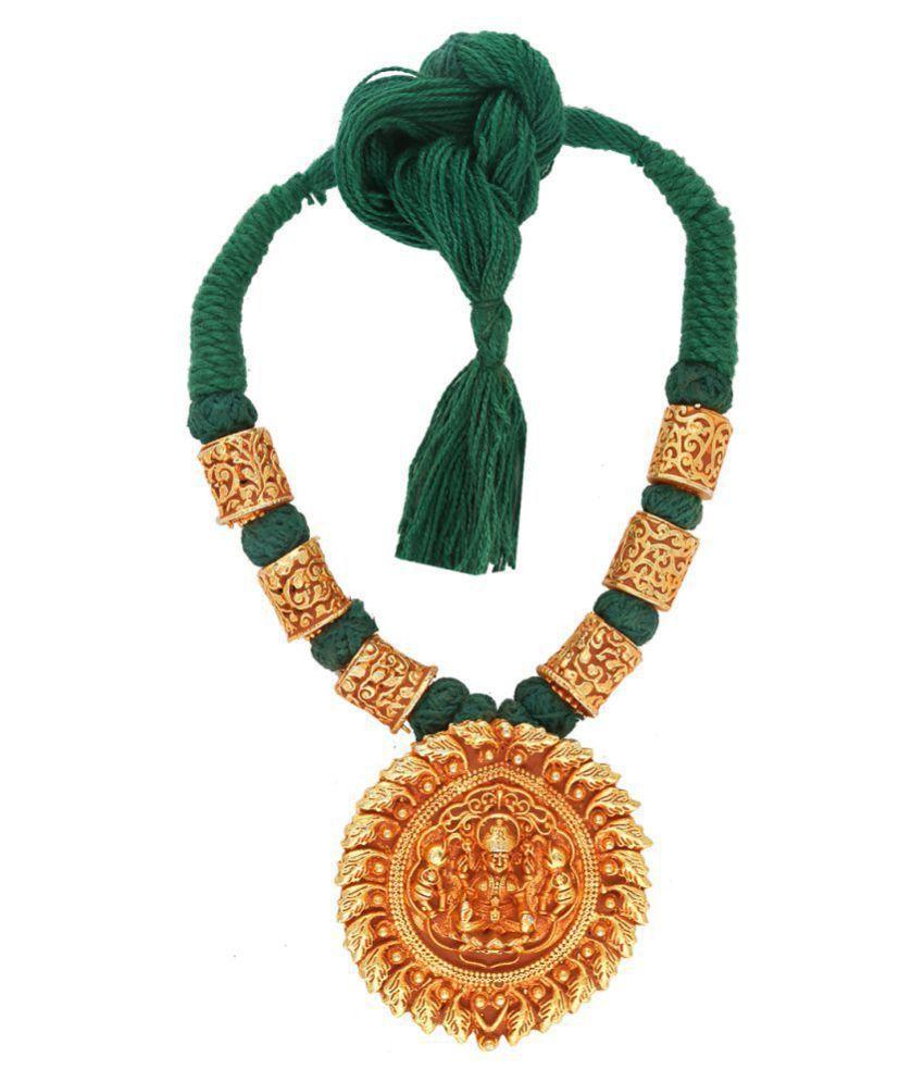 Anuradha Art Green Colour Temple Styled Designer Handmade Geru Polish Thread Neckalce For Women/Girls
