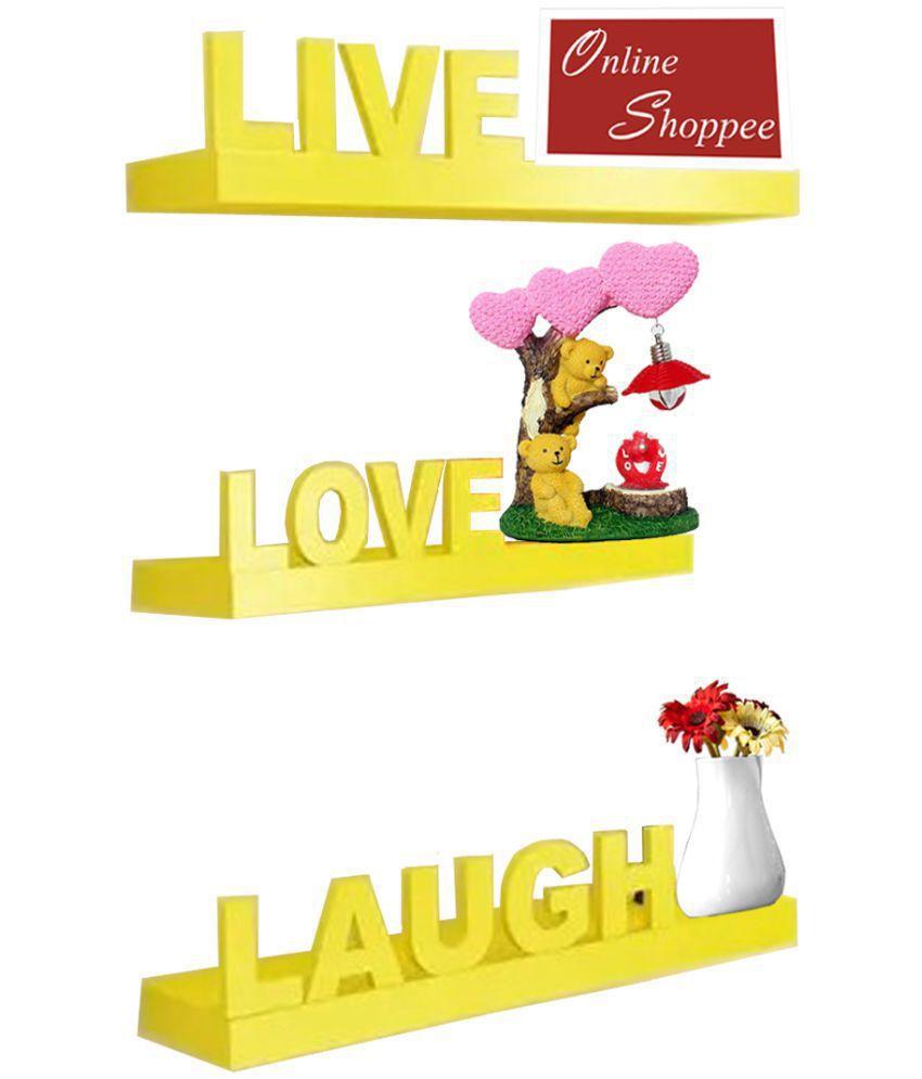 Onlineshoppee Floating Shelves Yellow MDF - Pack of 3