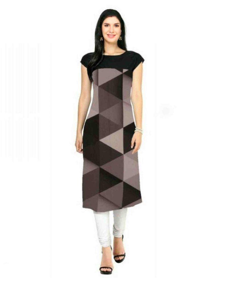 ruhi fashion Multicoloured Crepe Straight Kurti