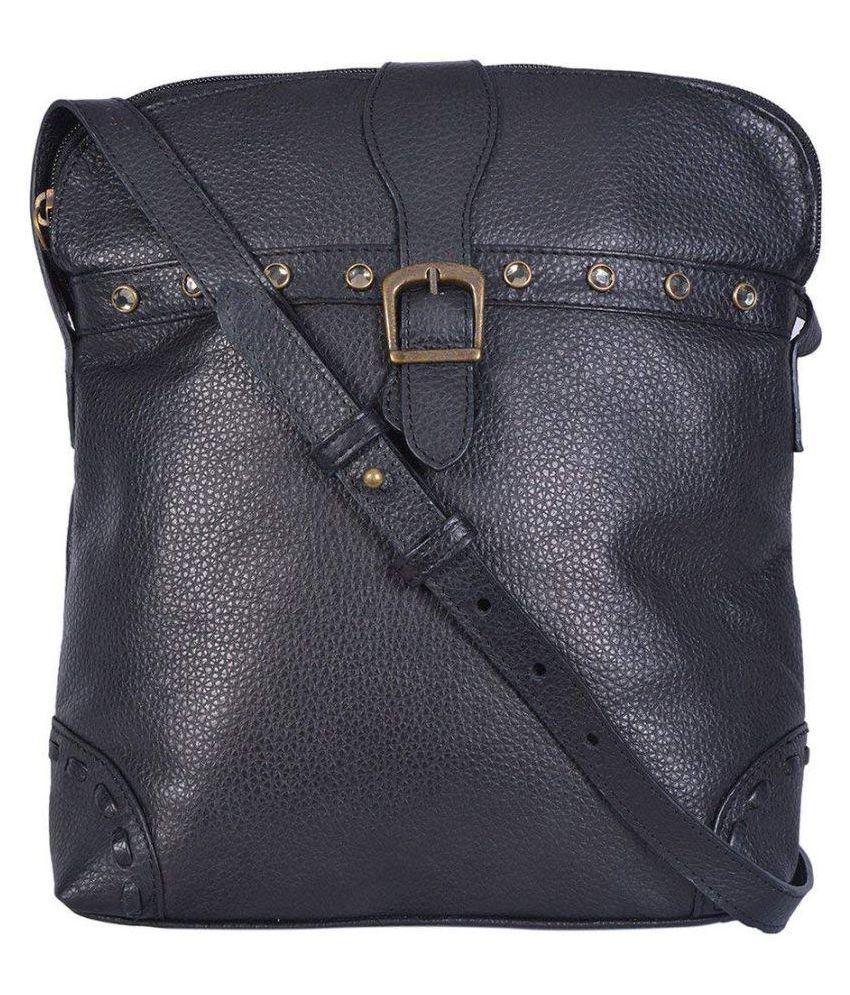 RSI Black Pure Leather Sling Bag