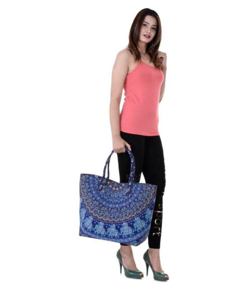 Handicraft-Palace Blue Shopping Bags - 1 Pc