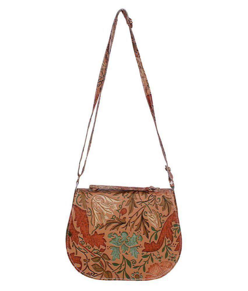8a18ee5242 Ratan s Rust Faux Leather Circular Sling Bag - Buy Ratan s Rust Faux ...
