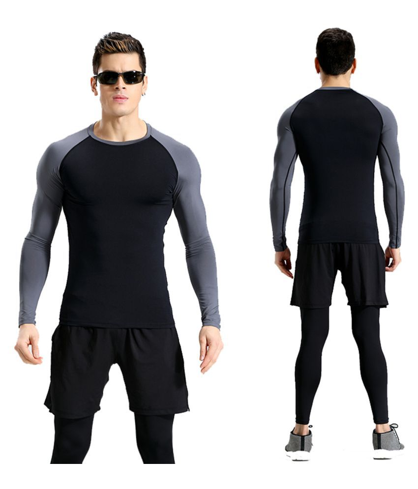 Zesteez Black Grey  Full sleeves Men ultra stretchable gym-workout compression support tshirt in premium Quality fabric || compression Support || GYM || YOGA|| Active-wear || Sportswear|| cycling||Running